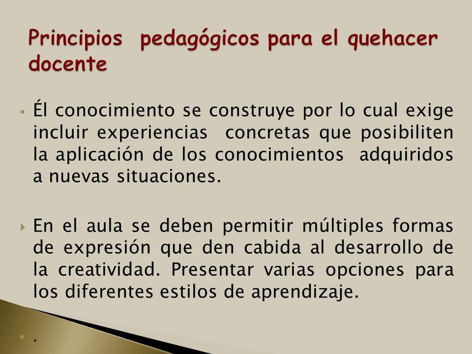 Él conocimiento se construye por lo cual exige incluir experiencias concretas que posibiliten la aplicación de los conocimientos adquiridos a nuevas s