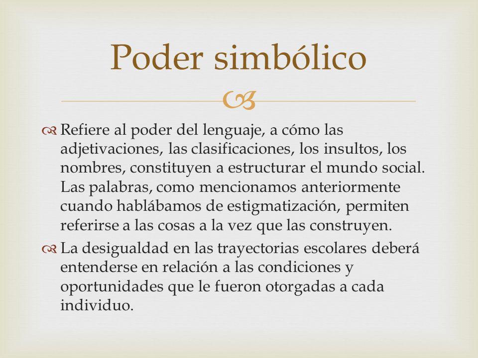 Refiere al poder del lenguaje, a cómo las adjetivaciones, las clasificaciones, los insultos, los nombres, constituyen a estructurar el mundo social. L
