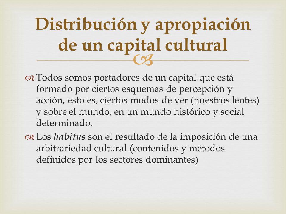 Todos somos portadores de un capital que está formado por ciertos esquemas de percepción y acción, esto es, ciertos modos de ver (nuestros lentes) y s