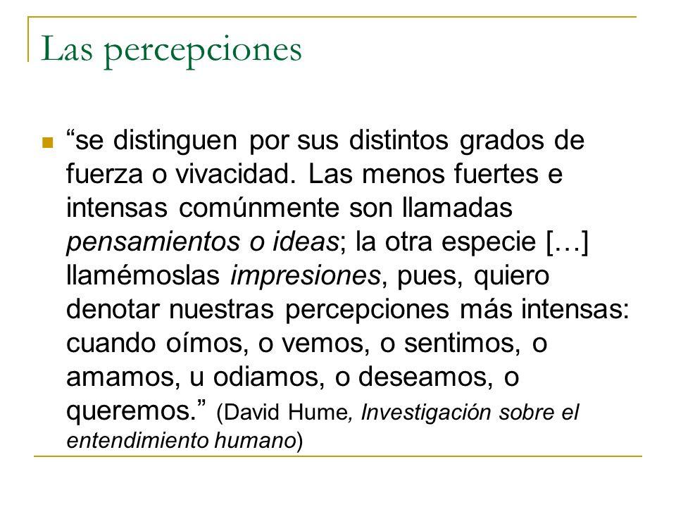 Las percepciones se distinguen por sus distintos grados de fuerza o vivacidad.