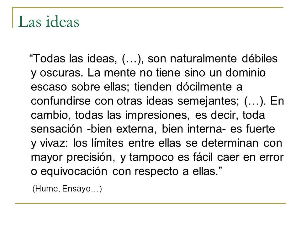 Las ideas Todas las ideas, (…), son naturalmente débiles y oscuras.