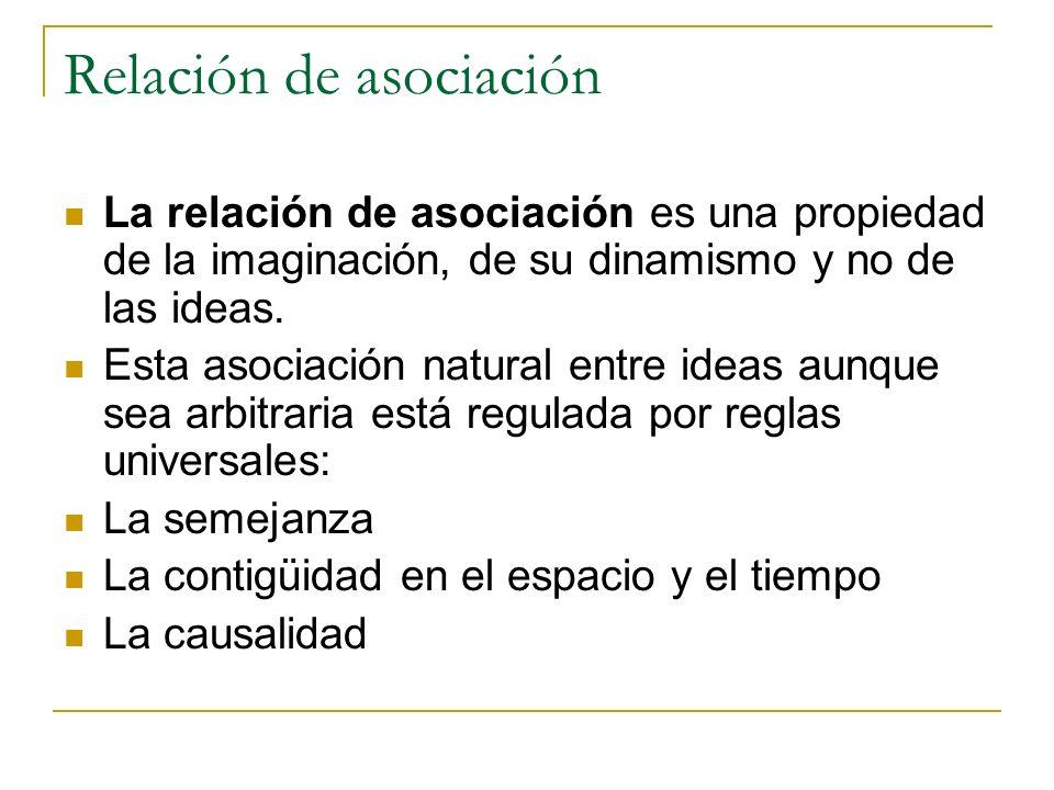 Relación de asociación La relación de asociación es una propiedad de la imaginación, de su dinamismo y no de las ideas.