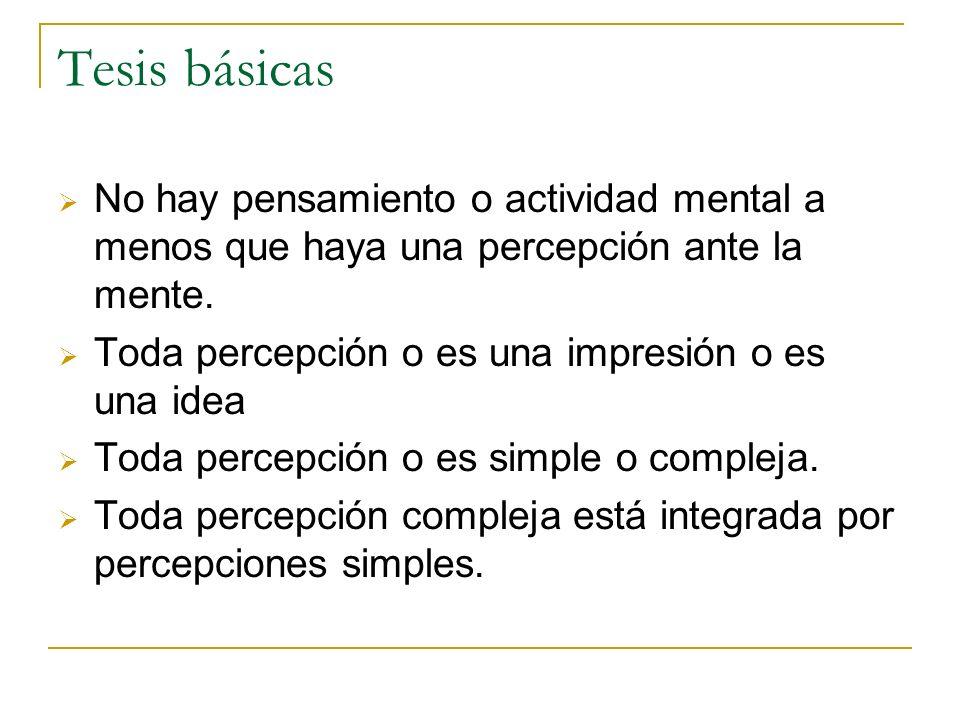 Tesis básicas No hay pensamiento o actividad mental a menos que haya una percepción ante la mente.