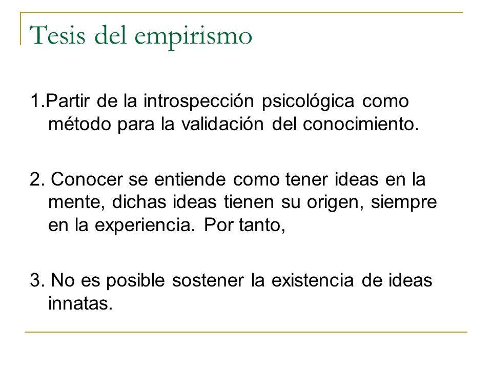 Tesis del empirismo 1.Partir de la introspección psicológica como método para la validación del conocimiento.