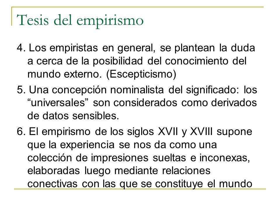 Tesis del empirismo 4.