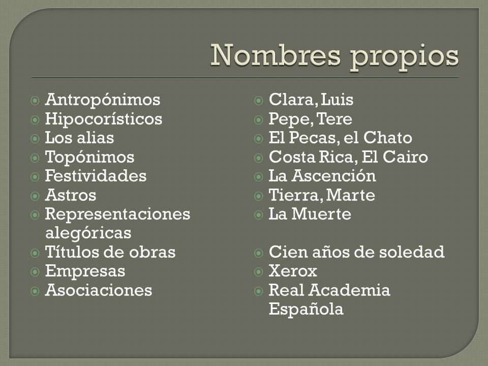 Antropónimos Hipocorísticos Los alias Topónimos Festividades Astros Representaciones alegóricas Títulos de obras Empresas Asociaciones Clara, Luis Pep