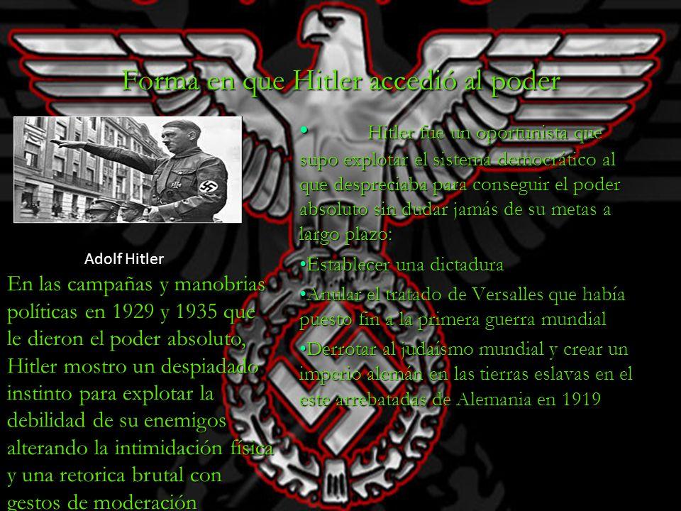 Forma en que Hitler accedió al poder Hitler fue un oportunista que supo explotar el sistema democrático al que despreciaba para conseguir el poder abs