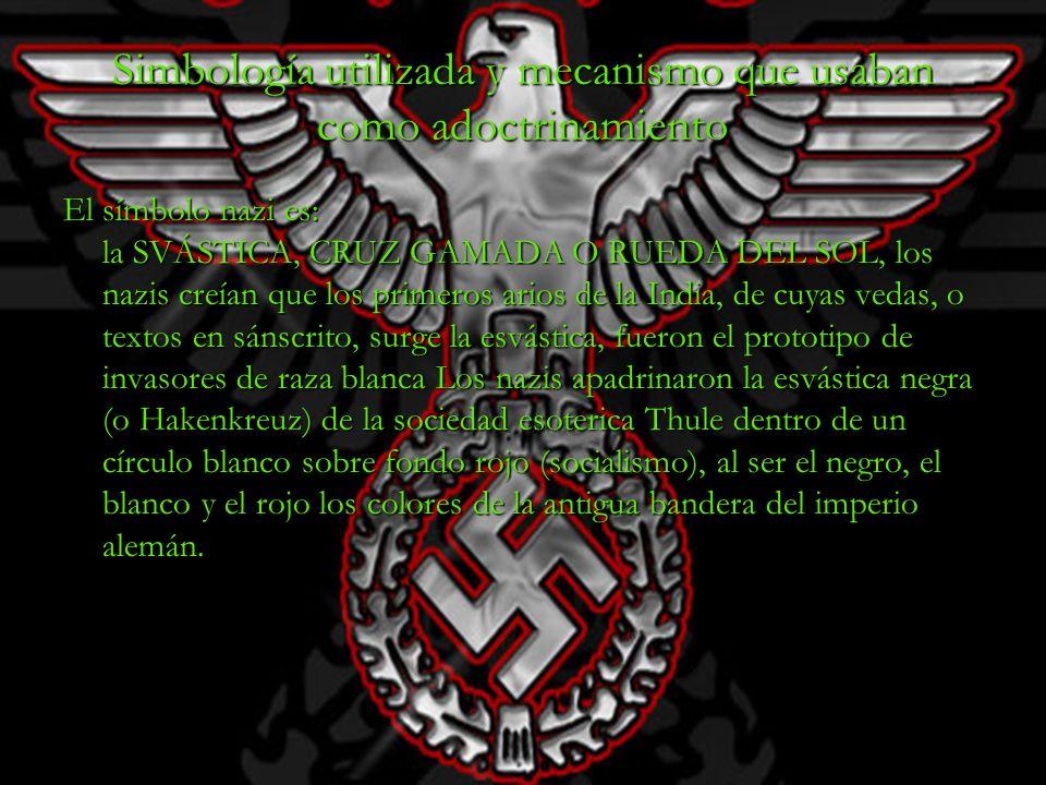 Simbología utilizada y mecanismo que usaban como adoctrinamiento El símbolo nazi es: la SVÁSTICA, CRUZ GAMADA O RUEDA DEL SOL, los nazis creían que lo