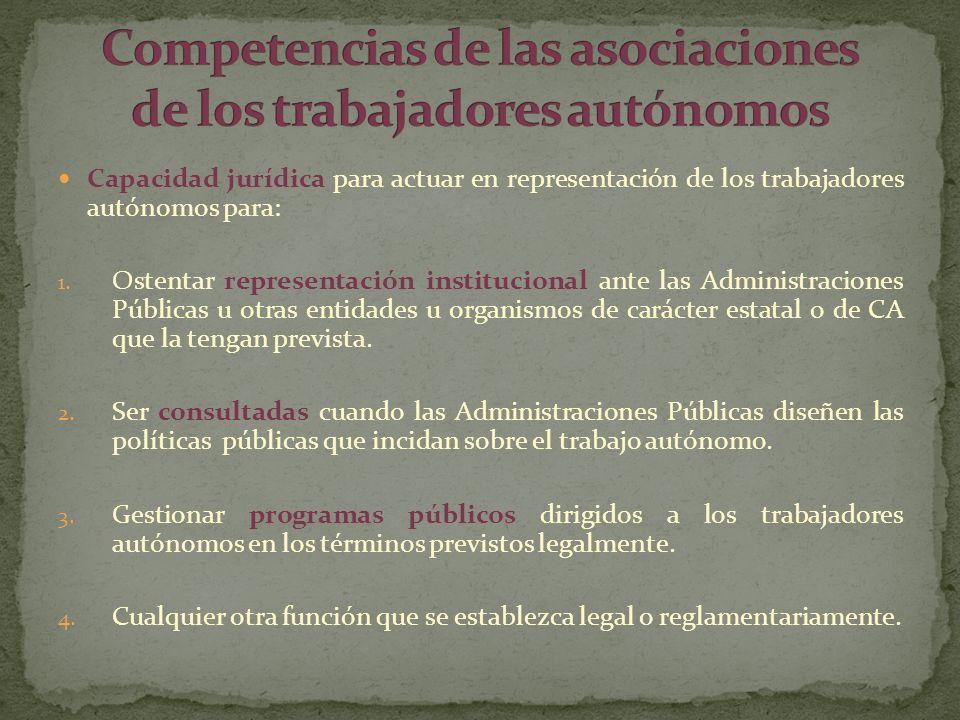 Capacidad jurídica para actuar en representación de los trabajadores autónomos para: 1. Ostentar representación institucional ante las Administracione