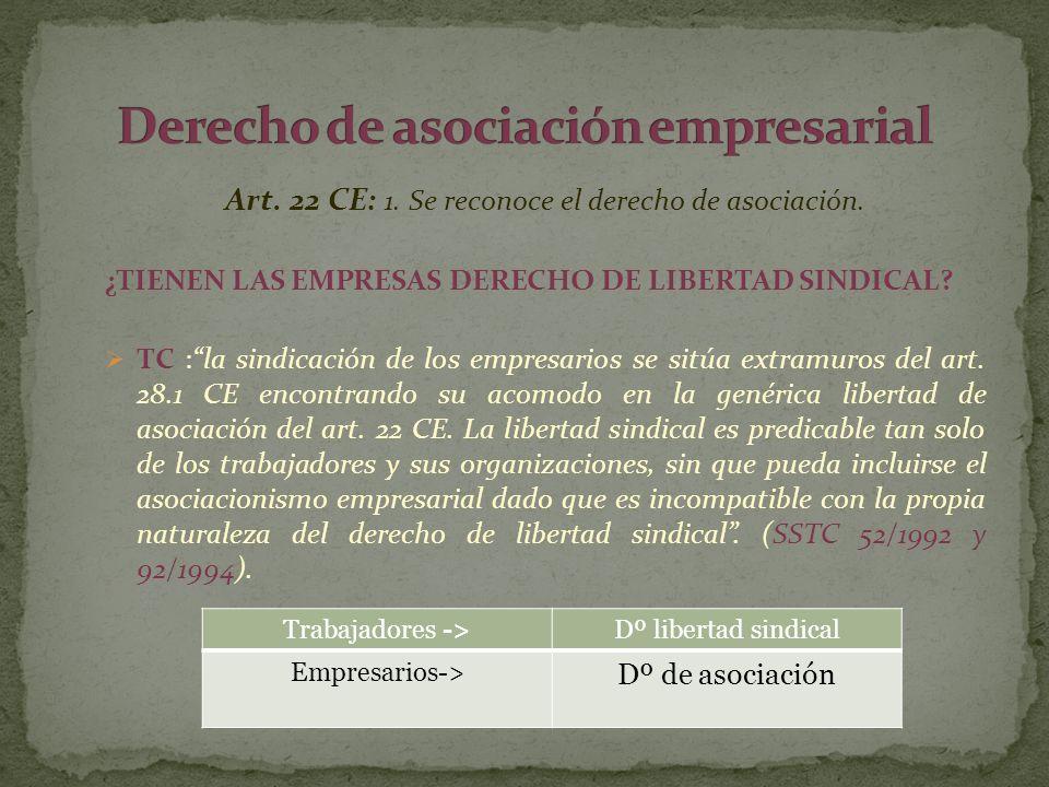 Art. 22 CE: 1. Se reconoce el derecho de asociación. ¿TIENEN LAS EMPRESAS DERECHO DE LIBERTAD SINDICAL? TC :la sindicación de los empresarios se sitúa
