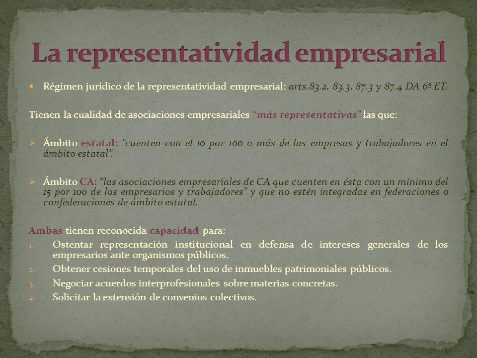 Régimen jurídico de la representatividad empresarial: arts.83.2, 83.3, 87.3 y 87.4 DA 6ª ET. Tienen la cualidad de asociaciones empresariales más repr