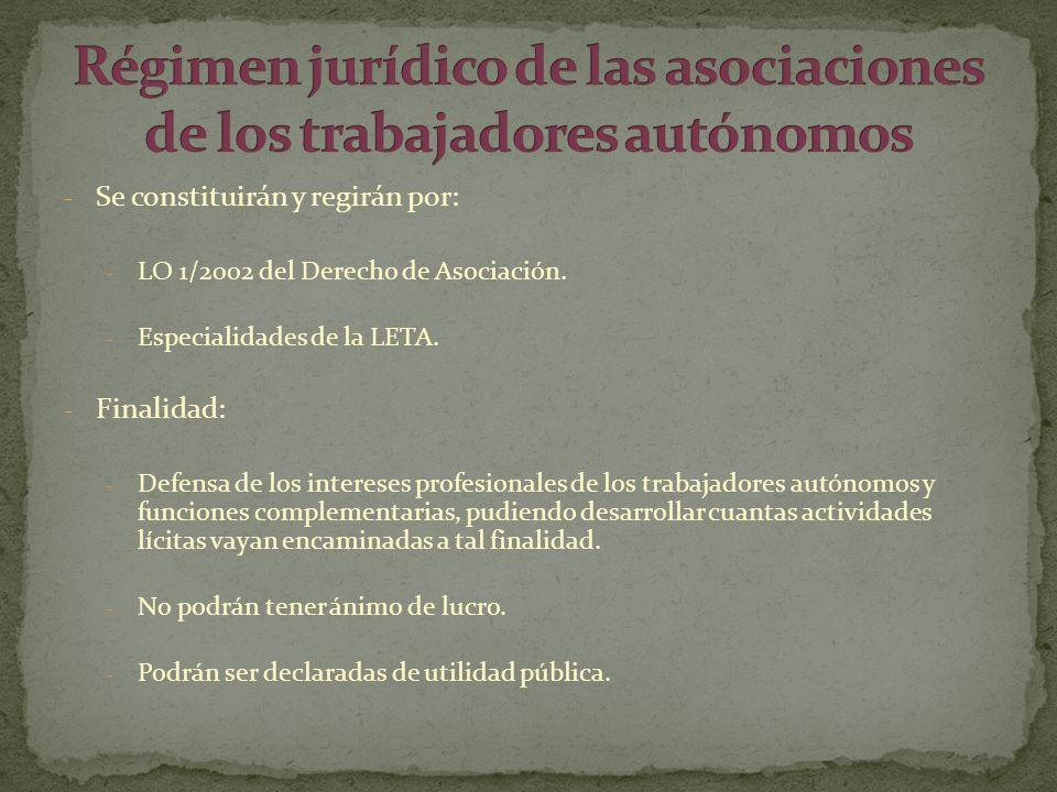 - Se constituirán y regirán por: - LO 1/2002 del Derecho de Asociación. - Especialidades de la LETA. - Finalidad: - Defensa de los intereses profesion