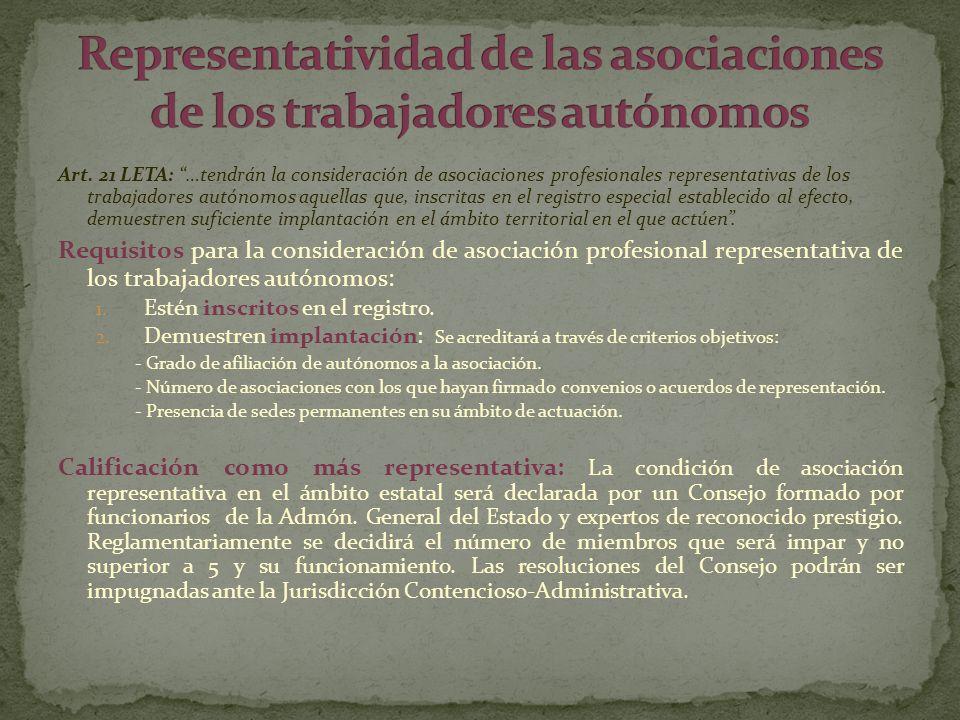 Art. 21 LETA: …tendrán la consideración de asociaciones profesionales representativas de los trabajadores autónomos aquellas que, inscritas en el regi