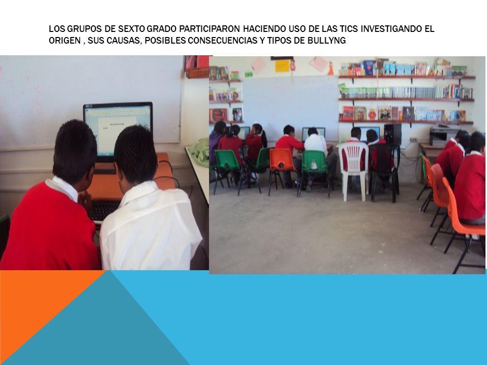 LOS GRUPOS DE SEXTO GRADO PARTICIPARON HACIENDO USO DE LAS TICS INVESTIGANDO EL ORIGEN, SUS CAUSAS, POSIBLES CONSECUENCIAS Y TIPOS DE BULLYNG