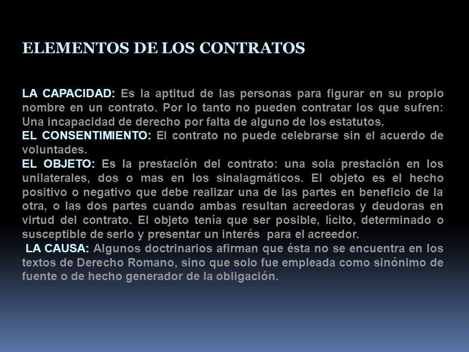 ELEMENTOS DE LOS CONTRATOS LA CAPACIDAD: Es la aptitud de las personas para figurar en su propio nombre en un contrato.