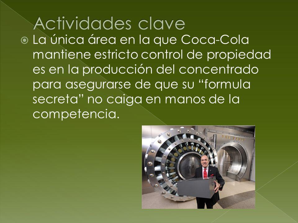 La única área en la que Coca-Cola mantiene estricto control de propiedad es en la producción del concentrado para asegurarse de que su formula secreta