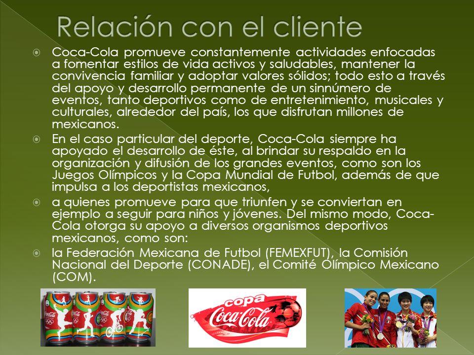 Coca-Cola promueve constantemente actividades enfocadas a fomentar estilos de vida activos y saludables, mantener la convivencia familiar y adoptar va