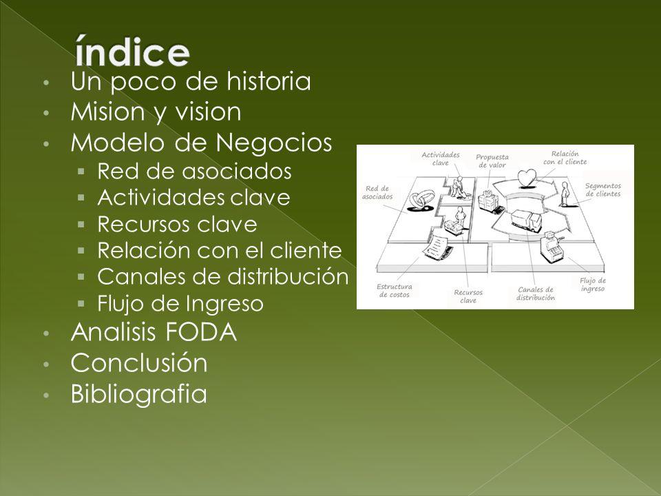 Un poco de historia Mision y vision Modelo de Negocios Red de asociados Actividades clave Recursos clave Relación con el cliente Canales de distribuci