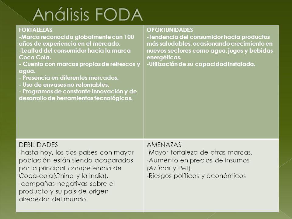 FORTALEZAS -Marca reconocida globalmente con 100 años de experiencia en el mercado. -Lealtad del consumidor hacia la marca Coca Cola. - Cuenta con mar