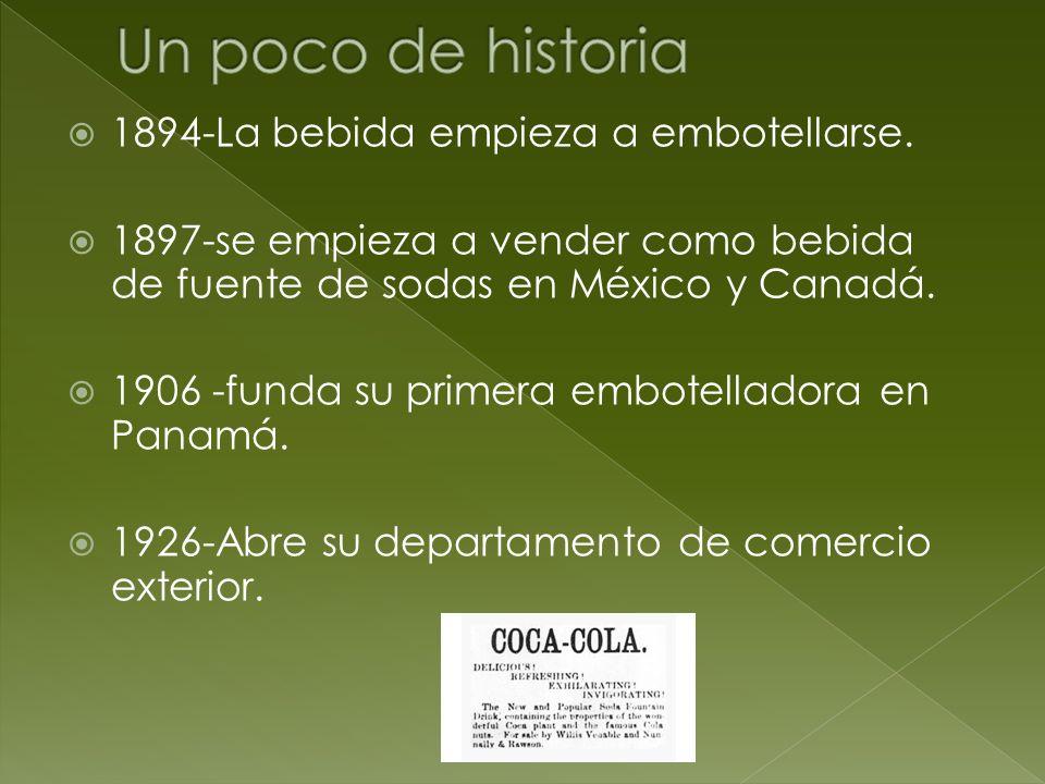 1894-La bebida empieza a embotellarse. 1897-se empieza a vender como bebida de fuente de sodas en México y Canadá. 1906 -funda su primera embotellador