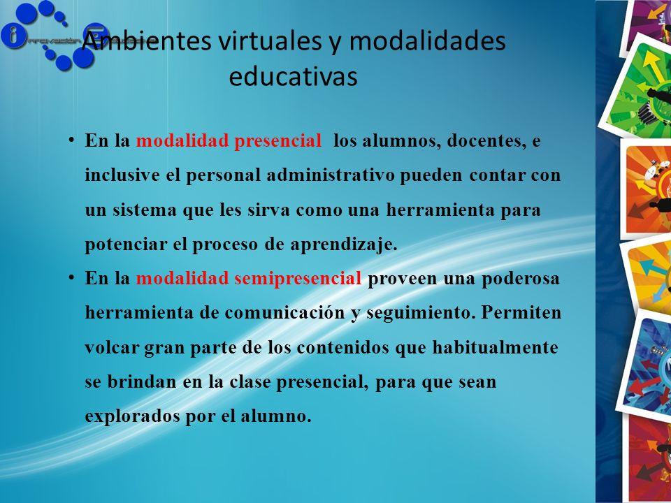 Ambientes virtuales y modalidades educativas En la modalidad presencial los alumnos, docentes, e inclusive el personal administrativo pueden contar co