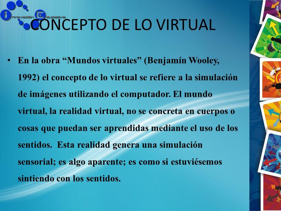 CONCEPTO DE LO VIRTUAL En la obra Mundos virtuales (Benjamín Wooley, 1992) el concepto de lo virtual se refiere a la simulación de imágenes utilizando