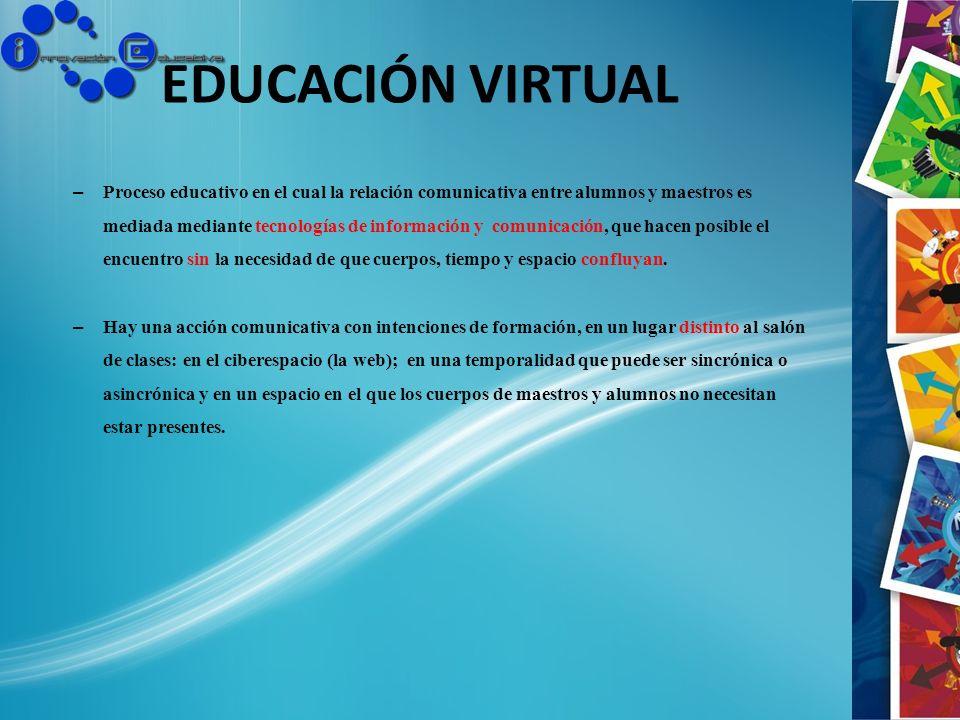 EDUCACIÓN VIRTUAL – Proceso educativo en el cual la relación comunicativa entre alumnos y maestros es mediada mediante tecnologías de información y co