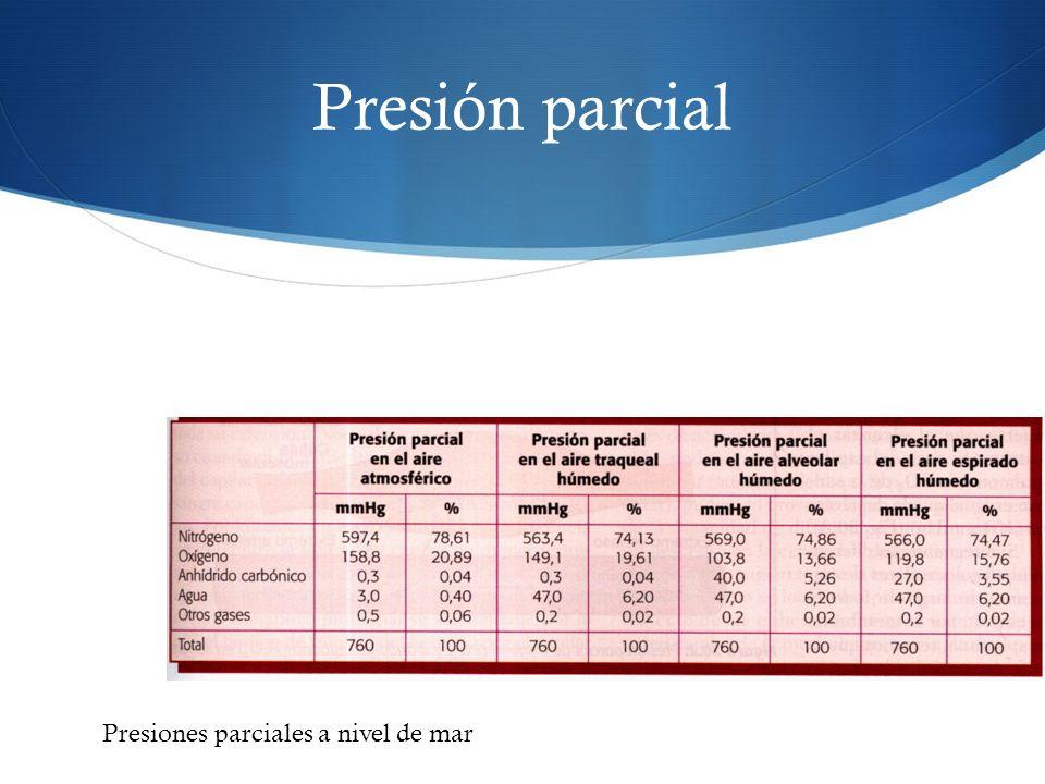 Presión parcial Presiones parciales a nivel de mar