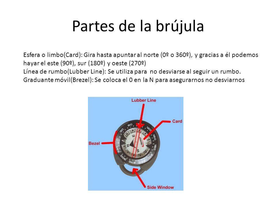 Partes de la brújula Esfera o limbo(Card): Gira hasta apuntar al norte (0º o 360º), y gracias a él podemos hayar el este (90º), sur (180º) y oeste (27