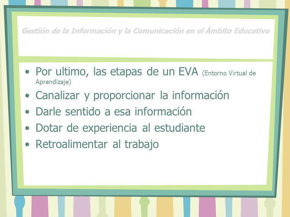 Gestión de la Información y la Comunicación en el Ámbito Educativo Por ultimo, las etapas de un EVA (Entorno Virtual de Aprendizaje) Canalizar y propo
