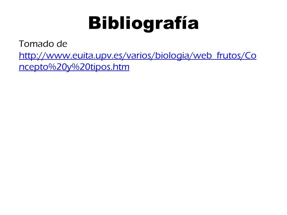 Bibliografía Tomado de http://www.euita.upv.es/varios/biologia/web_frutos/Co ncepto%20y%20tipos.htm http://www.euita.upv.es/varios/biologia/web_frutos/Co ncepto%20y%20tipos.htm