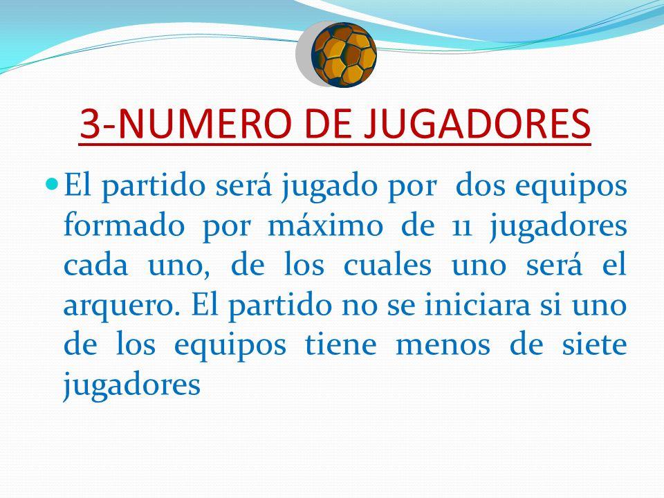 3-NUMERO DE JUGADORES El partido será jugado por dos equipos formado por máximo de 11 jugadores cada uno, de los cuales uno será el arquero. El partid