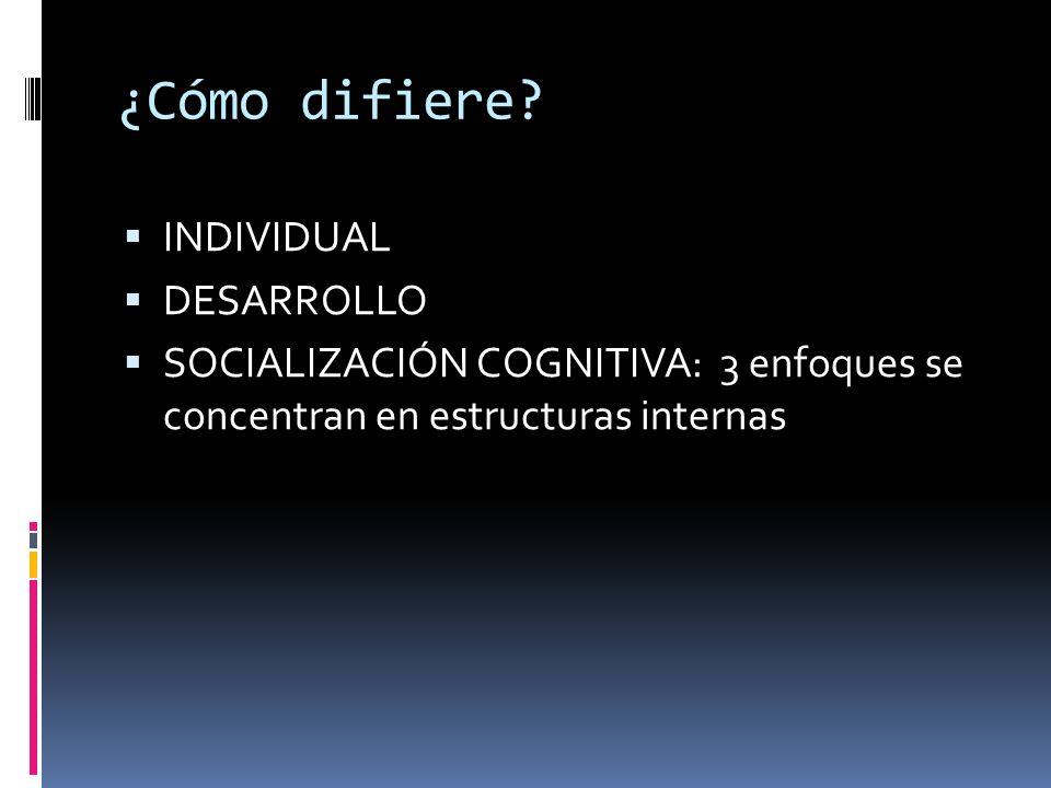 ¿Cómo difiere? INDIVIDUAL DESARROLLO SOCIALIZACIÓN COGNITIVA: 3 enfoques se concentran en estructuras internas