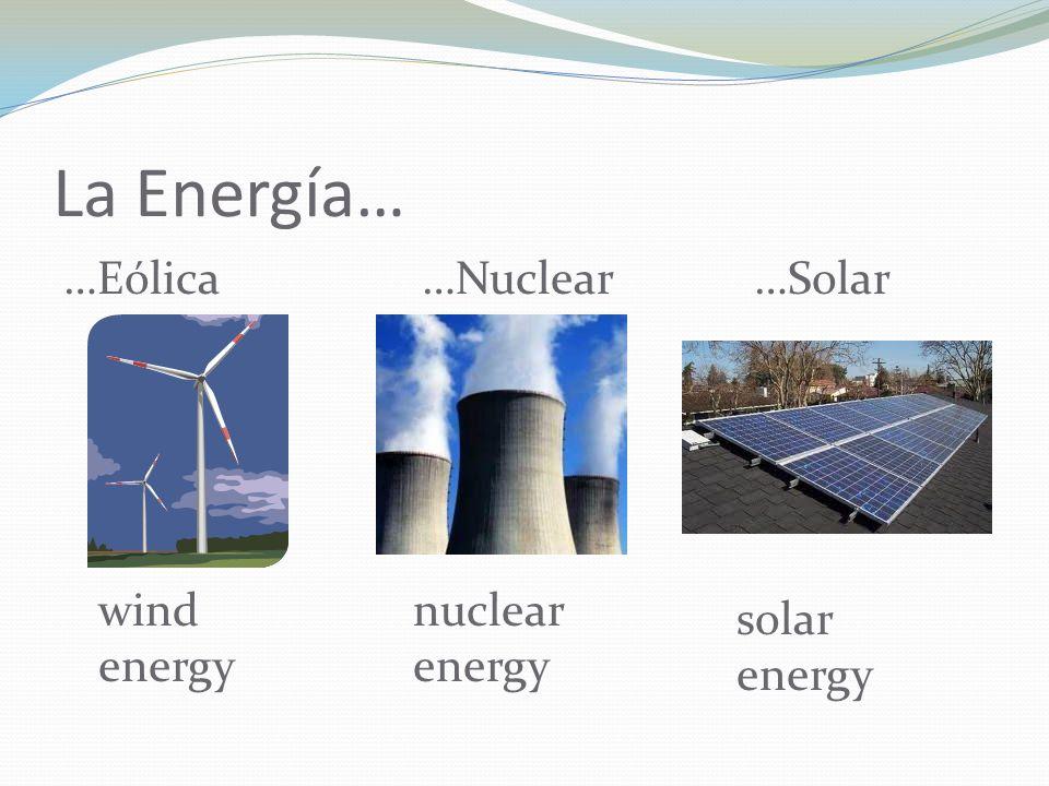 La Energía… …Eólica wind energy …Nuclear…Solar nuclear energy solar energy
