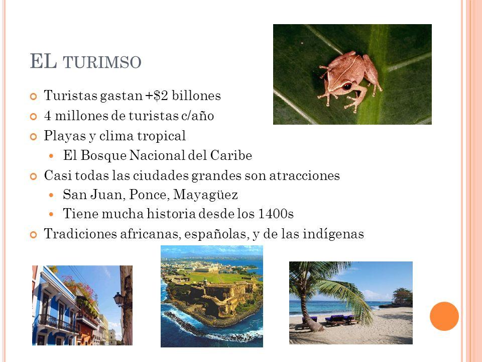 EL TURIMSO Turistas gastan +$2 billones 4 millones de turistas c/año Playas y clima tropical El Bosque Nacional del Caribe Casi todas las ciudades gra