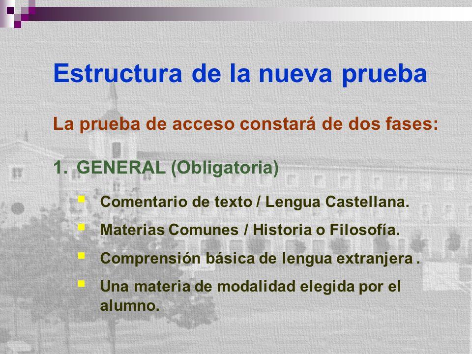 Estructura de la nueva prueba La prueba de acceso constará de dos fases: 1.GENERAL (Obligatoria) Comentario de texto / Lengua Castellana. Materias Com