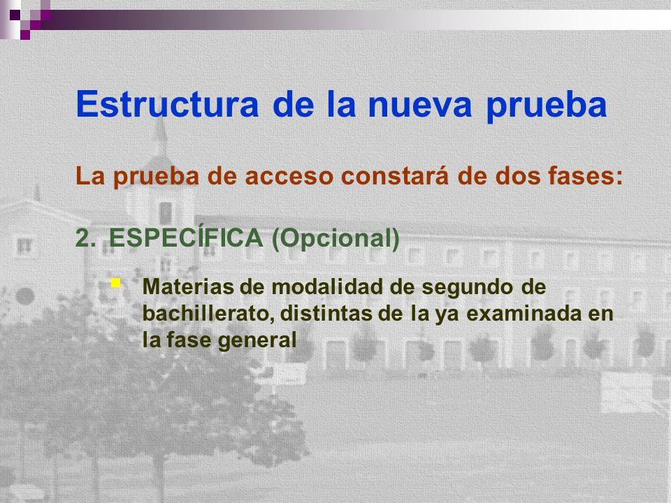 Estructura de la nueva prueba La prueba de acceso constará de dos fases: 2.ESPECÍFICA (Opcional) Materias de modalidad de segundo de bachillerato, distintas de la ya examinada en la fase general