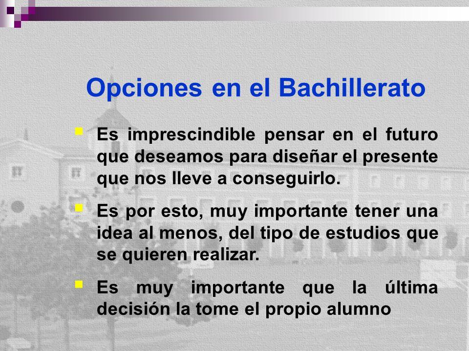 Opciones en el Bachillerato Es imprescindible pensar en el futuro que deseamos para diseñar el presente que nos lleve a conseguirlo.