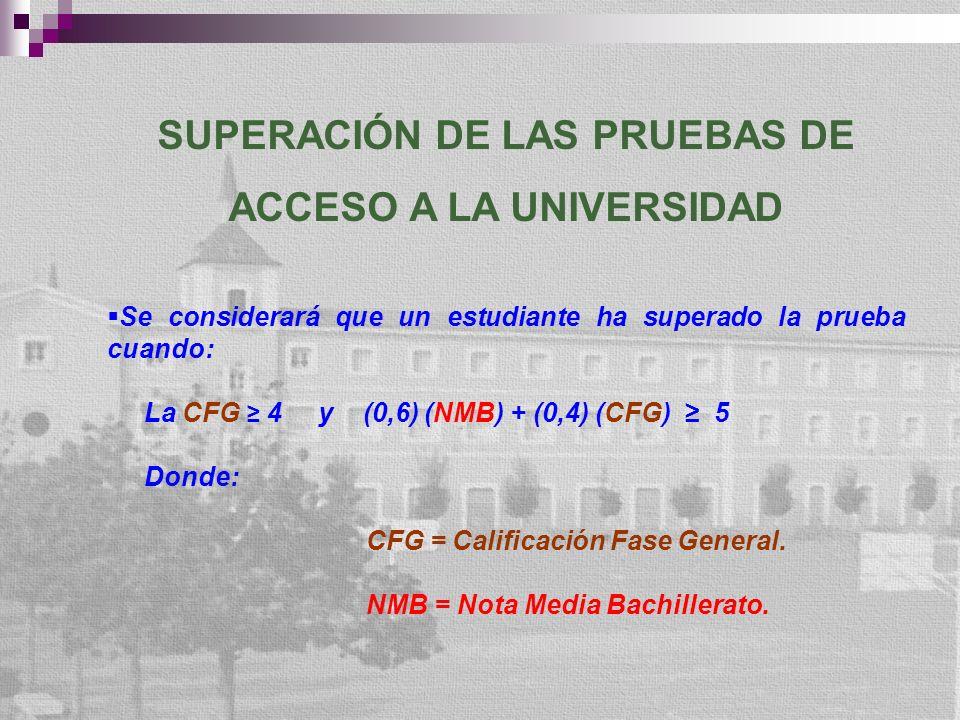 SUPERACIÓN DE LAS PRUEBAS DE ACCESO A LA UNIVERSIDAD Se considerará que un estudiante ha superado la prueba cuando: La CFG 4 y (0,6) (NMB) + (0,4) (CFG) 5 Donde: CFG = Calificación Fase General.