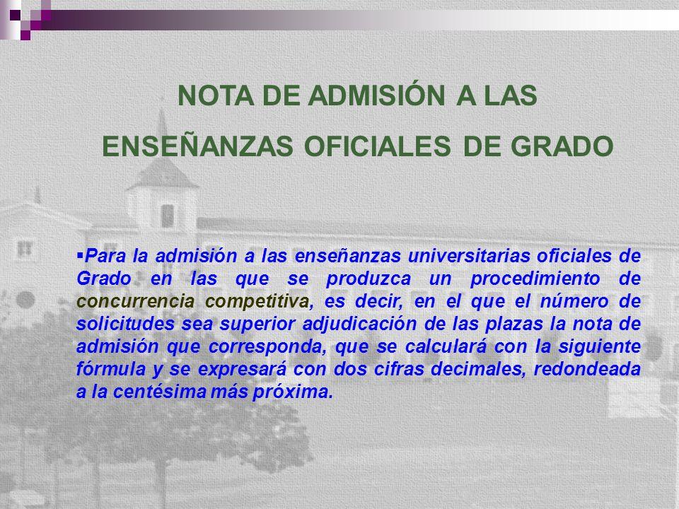 NOTA DE ADMISIÓN A LAS ENSEÑANZAS OFICIALES DE GRADO Para la admisión a las enseñanzas universitarias oficiales de Grado en las que se produzca un pro