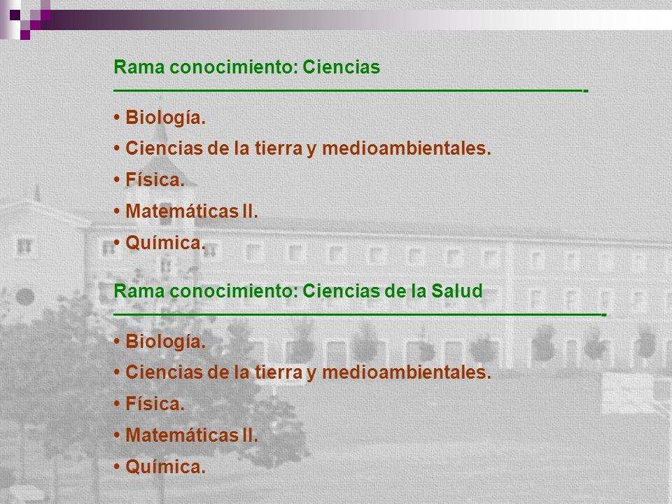 Rama conocimiento: Ciencias - Biología. Ciencias de la tierra y medioambientales. Física. Matemáticas II. Química. Rama conocimiento: Ciencias de la S