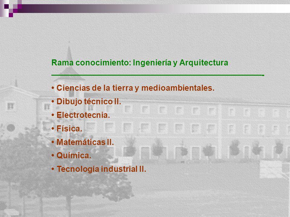 Rama conocimiento: Ingeniería y Arquitectura - Ciencias de la tierra y medioambientales. Dibujo técnico II. Electrotecnia. Física. Matemáticas II. Quí