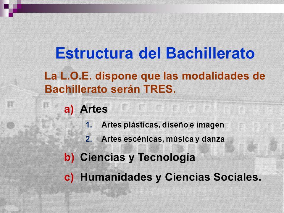 Estructura del Bachillerato La L.O.E. dispone que las modalidades de Bachillerato serán TRES. a)Artes 1.Artes plásticas, diseño e imagen 2.Artes escén