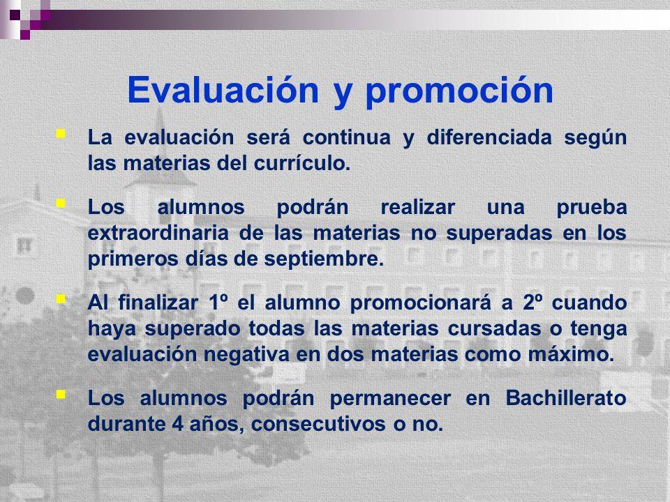 Evaluación y promoción La evaluación será continua y diferenciada según las materias del currículo. Los alumnos podrán realizar una prueba extraordina