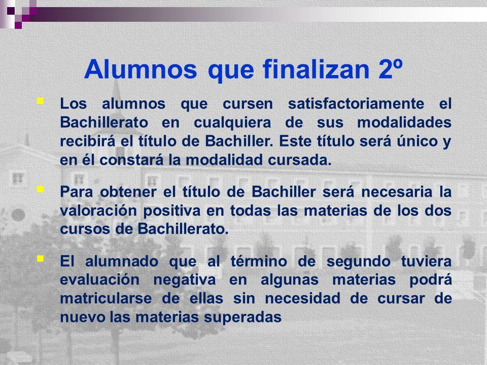 Alumnos que finalizan 2º Los alumnos que cursen satisfactoriamente el Bachillerato en cualquiera de sus modalidades recibirá el título de Bachiller.