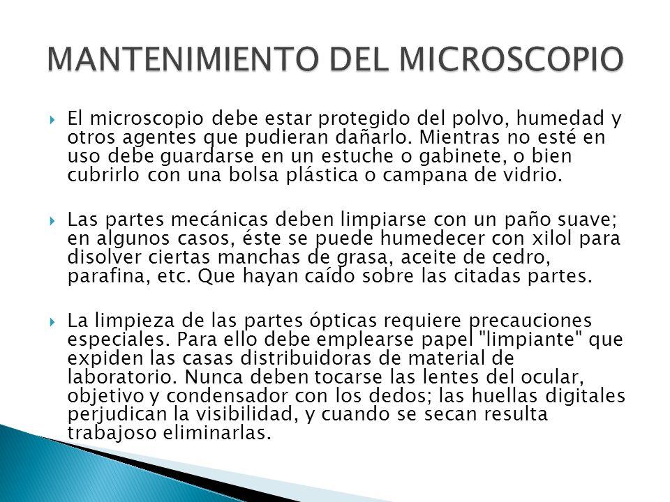 El microscopio debe estar protegido del polvo, humedad y otros agentes que pudieran dañarlo. Mientras no esté en uso debe guardarse en un estuche o ga