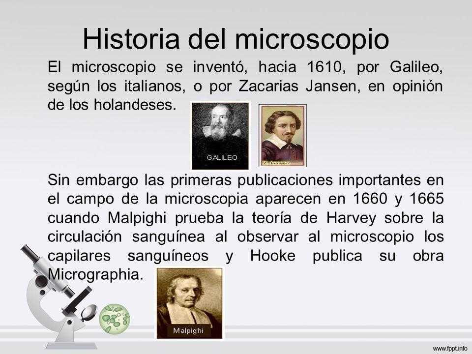 Historia del microscopio El microscopio se inventó, hacia 1610, por Galileo, según los italianos, o por Zacarias Jansen, en opinión de los holandeses.