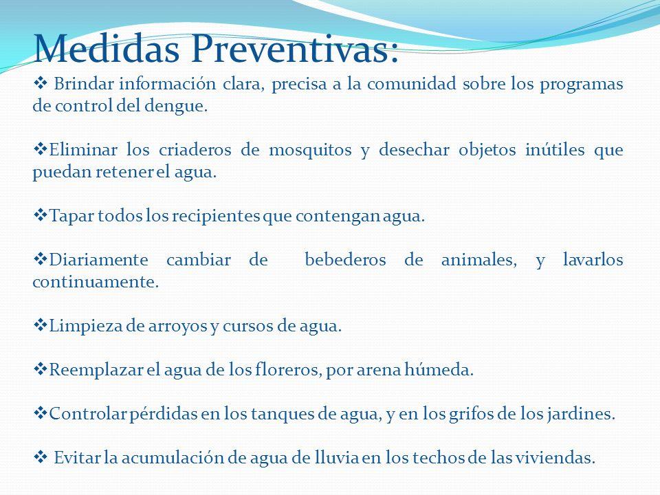 Medidas Preventivas: Brindar información clara, precisa a la comunidad sobre los programas de control del dengue. Eliminar los criaderos de mosquitos