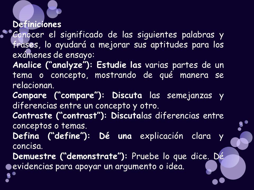 Describa (describe): Presente declaraciones claras y detalladas.