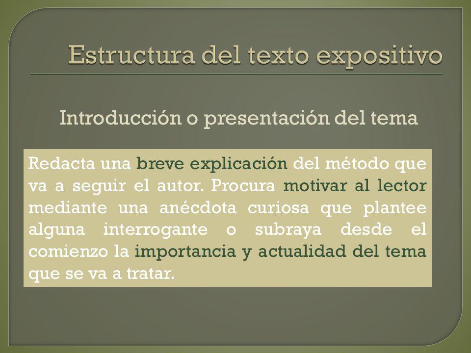 Introducción o presentación del tema Redacta una breve explicación del método que va a seguir el autor.